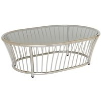 Alexander Rose Cordial Stainless Steel Oval Coffee Table with Glass Top